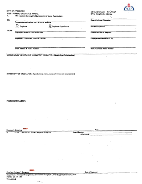 City of Stockton Grievance Form (Fillable)